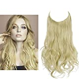 SARLA Hair Extension Halo Pale Ash Blonde Curly Long Synthetic Hairpiece 18 Inch 4.2 Oz Hidden Wire Headband for Women Heat Resistant Fiber No Clip (M01&24/613)