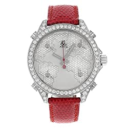 Diamond Dial With World Map Five Time Zone Watch