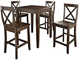 Crosley 5 Piece Pub Dining Set w/ Tapered Leg and X-Back Stools in
