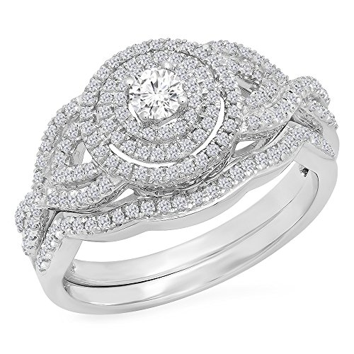 0.55 Carat (Ctw) 10K White Gold White Diamond Ladies Bridal Halo Engagement Ring Set 1/2 CT (Size 7)