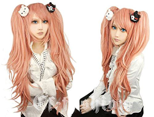 (Cf-fashion Dangan-ronpa Junko Enoshima Cosplay Long Cuyly Wig with 1 Pair Bear Hair Clip for Halloween Carneval + Free Wig Cap by)