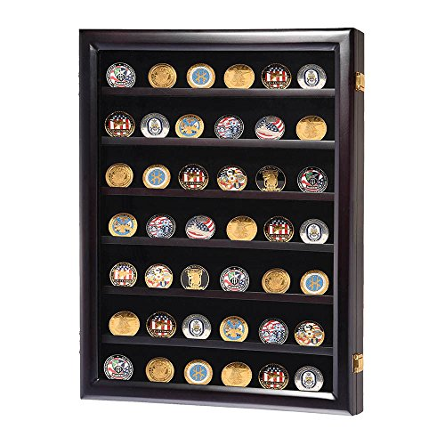 Display-Cabinet-Wall-Box-Coin-Military-Challenge-Frame-Wood-Case-Casino-Chip-Shadow
