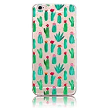 Bonice for Apple iPhone 5/5S/SE Soft TPU Case, Premium Ultra Thin Slim Exact Fit Silicone Rubber Clear Transparent Back Cover Art Creative Design Scratch-Resistant Non-slip Protective Skin - Cactus
