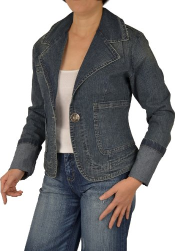 Womens Denim Jeans Jacket Blazer - Womens Dark Blue Color Stretch Denim Jean Blazer #LDJ30-DSU-XL