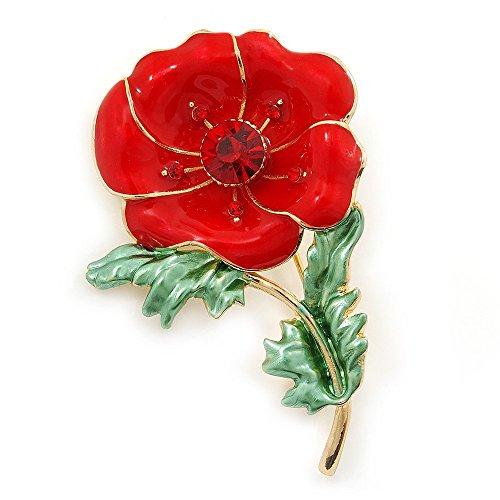 Red/ Green Enamel Poppy Brooch In Gold Plating - 53mm L