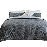 Tealp Grey Leaves Bedding Reversible Plaid Line Texture Design Palm Leaf Duvet Cover Set 3 Pieces Twin