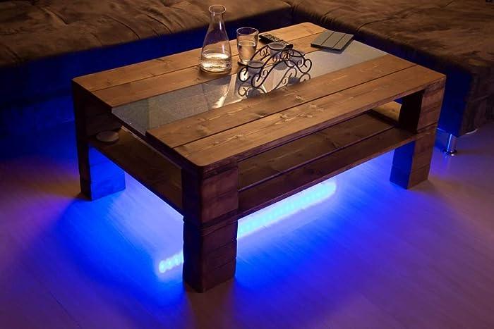 Couchtisch Palettenmöbelturin Mit Glasplatte Led Beleuchtung