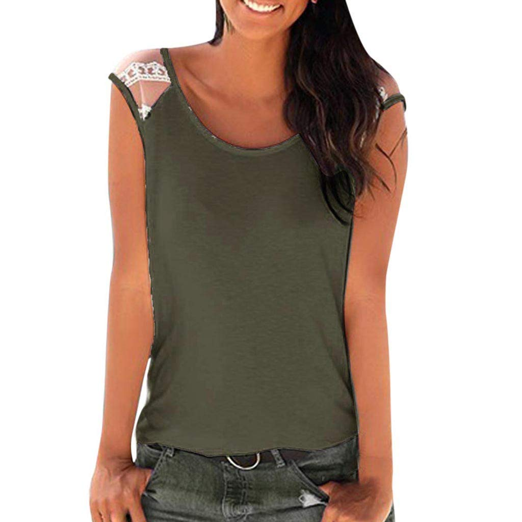 Bohelly ♚♚ Sleeveless Swing Tunic Summer Casual Lace Vest Sleeveless Tank Tops for Women Tank Lace Off Shoulder Army Green