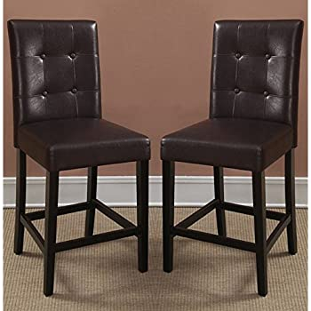Poundex Bar Stools Parson Counter Height Chairs Espresso Faux Leather Set of 2 & Amazon.com: Poundex Bar Stools Parson Counter Height Chairs ... islam-shia.org