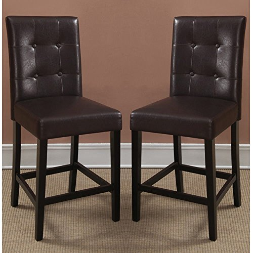 Poundex Bar Stools Parson Counter Height Chairs, Espresso Faux Leather, Set of (Bistro Counter)