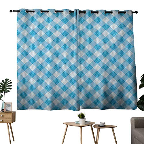 NUOMANAN Living Room Curtains Checkered,Blue and White for sale  Delivered anywhere in USA
