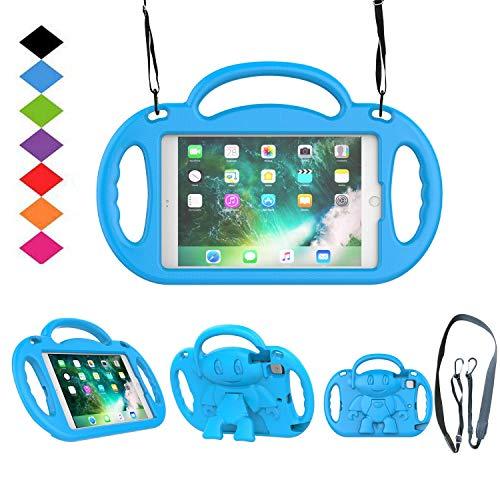 TIRIN Kids Case for iPad Mini 1/2/3/4/5,iPad Mini Kids Case - Shock Proof Smart Handle Stand Kids Case with Shoulder Strap for iPad Mini,iPad Mini 2nd,3rd,4th Gen,iPad Mini 5th Gen 2019, Blue