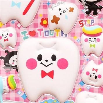 Pegatinas kawaii diente cepillo dientes dentífrico de Q-Lia: Amazon.es: Juguetes y juegos