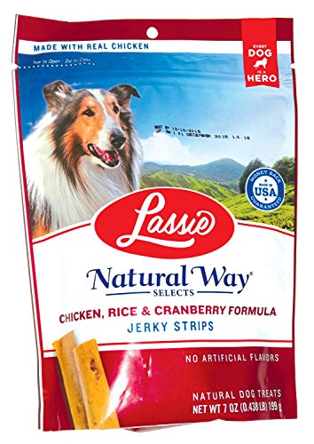 Lassie Chicken, Rice & Cranberry Formula Jerky Strips Net Wt. 7 Oz. (199 G)