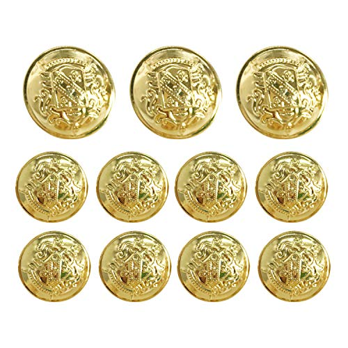 (Grekywin Vintage Metal Button Brass High-Grade Buttons for Jeans, Coat, Blazer, Suits, Jacket etc. Exotic Customs Style (Antique Gold) )