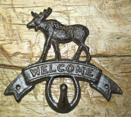 (JumpingLight Cast Iron Moose Welcome Towel Coat Hooks Hat Hook Key Rack Cabin Hunting Camp Cast Iron Decor for Vintage Industrial Home Accessory Decorative Gift)