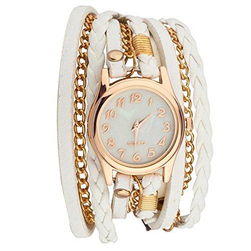 Lux Accessories Woven Chain Link Wrap Around Bracelet Analog Sports Quartz Wrist Watch ()
