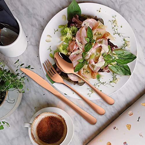 Travel Silverware Set with Case Camping Utensils Set Reusable Cutlery Set 9 Piece Gold Flatware Set, Knife Fork Spoon Chopsticks Metal Straws Bottle Opener