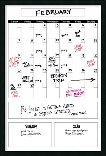 Framed Glass Dry Erase Board Extra Large, White Organize Calendar: Outer Size 26 x 38'' by Amanti Art