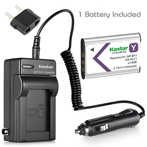 Kastar Compatible Battery and Charger Replacement for NP-BY1 EN-EL11 LI-60B DLI-78 DB-L70 DB-80 Sony Action Cam Mini HDR-AZ1 Nikon Coolpix S550 S560 Olympus FE-370 Optio L50 M50 M60 V20 W60 W80