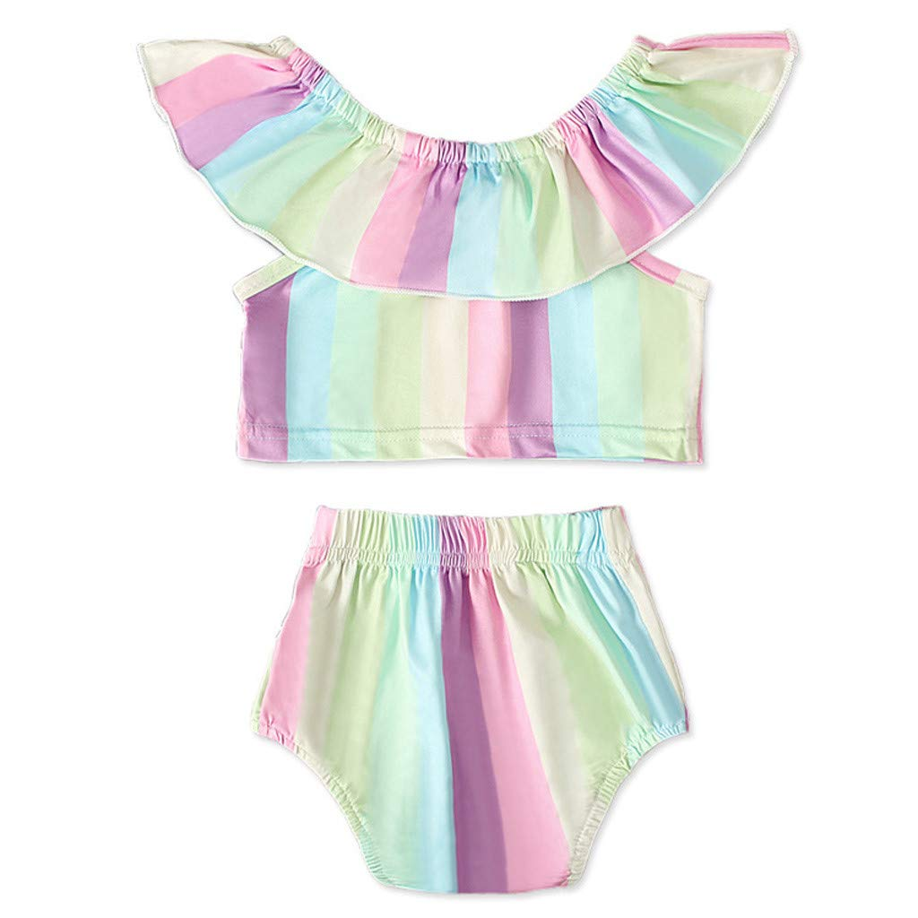 Luonita Newborn Infant Baby Girls Ruffles Off Shoulder Romper Jumpsuit Bodysuit Outfits with Hairband for 0-24M