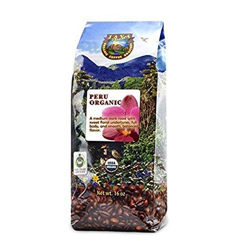 Java Planet - Organic Coffee Beans from Peru, Fair Trade, Medium Dark Roast, Arabica Gourmet Coffee Grade A, packaged in 1 LB ()