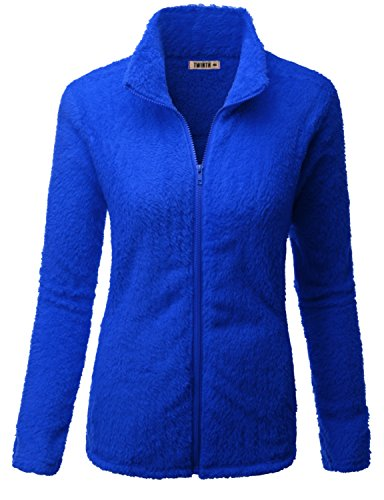 Doublju Womens Simple Design Full-Zip 3/4 Sleeve Jacket ROYALBLUE,L