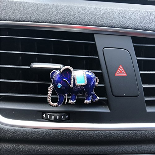 FOLCONROAD Auto Diamond Elephant Car Air Conditioning Outlet Clip Perfume Decorative (Blue)[US Warehouse]