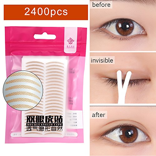 Fork Type (Stickers Magic Slim Double Sided Eyelid Tape Invisible Olive Type Waterproof Durable(with Fork rods Tool)(Slim) (2380, Mesh lace crescent))