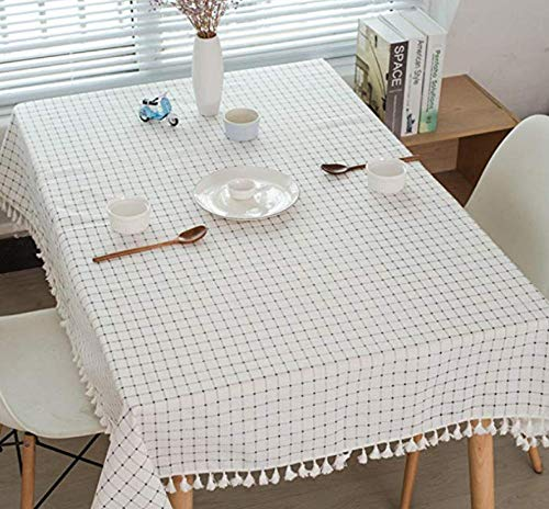 HZDDR Plaid tablecloths Mediterranean Style Fresh and Artistic Cotton and Tassel tablecloths Rectangular Coffee Table tablecloths-90x185cm (Coffee Mediterranean Table)