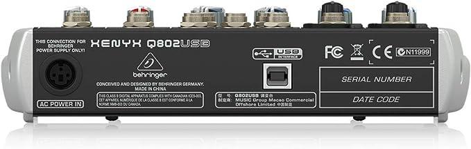 Behringer Q802USB - Mezclador USB de 8 canales (2 entradas para ...