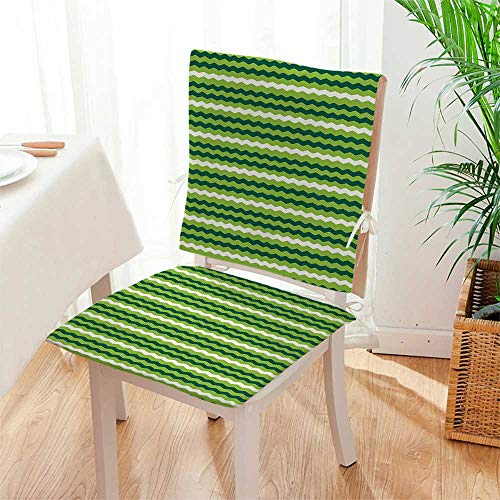 Mikihome Chair Cushion Horizontal Lines in Vibrant Colors Traditional Irish Pattern Lime Green Dark Green White 2 Piece Set Office Chair Car Seat Cushion Mat:W17 x H17/Backrest:W17 x H36