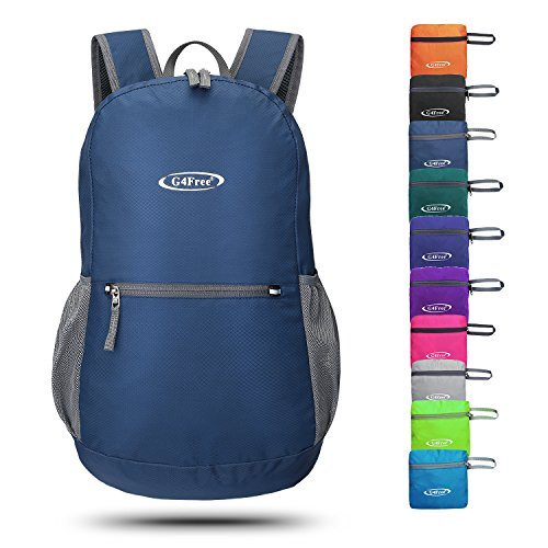 G4Free 20L Lightweight Packable Backpack Water Resistant Hiking Daypack Foldable Camping Outdoor Backpack Handy Bagk(Navy Blue)