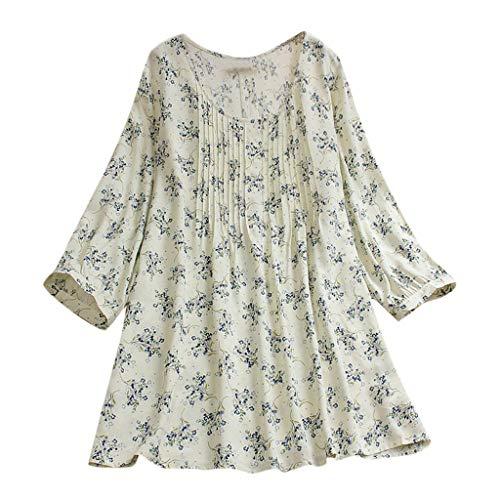 Aniywn Women Plus Size Linen National Tunic T Shirt Loose Plus Size Boho Swing Long Tops Blouse