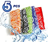 Pm0606 ICE COOL SCARF Neck Wrap Cooling Scarf, inflated in 8-10 mins on soaking in water. For golf, outdoor, walking, All Outdoor Activities. 5 Pcs Value Pack (Blue, Red, Orange, Black, Green)