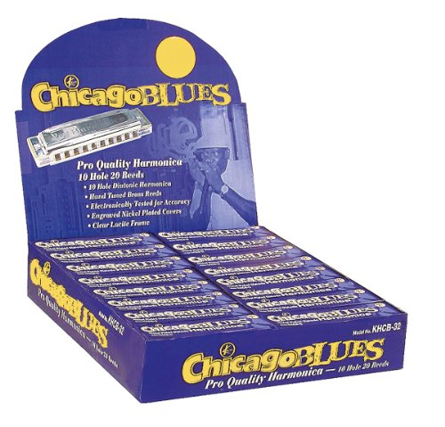 Chicago Blues KHCB32-A Harmonica Assortment Party Pack, 32 Harps in the Keys of C, G & A -
