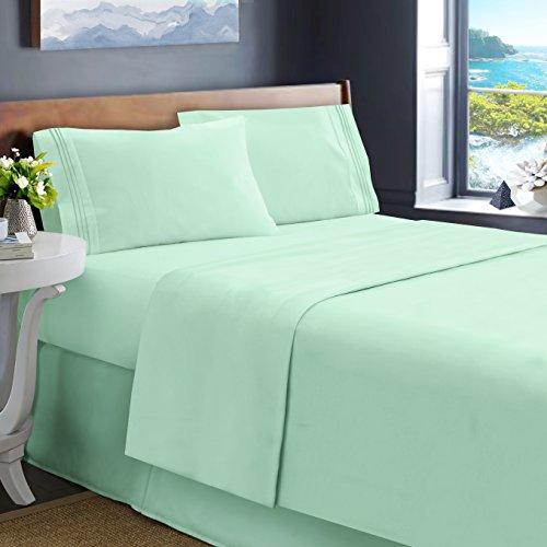Hearth & Harbor King Size Bed Sheets, Mint - Soft Luxury Best Quality 4-Piece Bed Set - Double Brushed Microfiber, Deep Pocket Fitted Sheet.