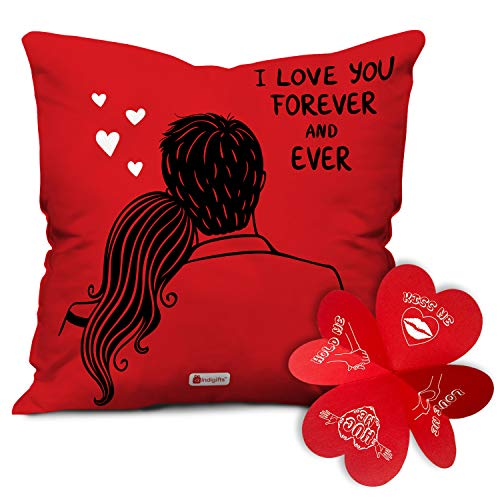 Indigifts Valentine Gift for Girlfriend I Love You Forever Quote Red Cushion Filler 12×12 inches with Cover – Valentine Gifts for Girlfriend Boyfriend Husband Wife,Birthday Gift Love Gifts