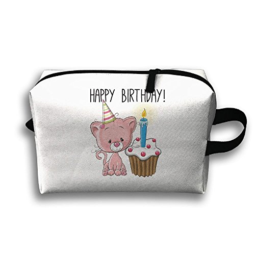 With Wristlet Cosmetic Bags Happy Birthday Pink Cat And Cake Travel Portable Makeup Bag Zipper Wallet Hangbag ()