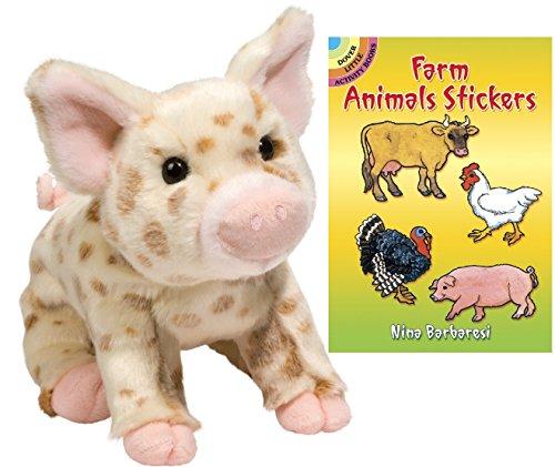 "Mud Pie Brown Spotted Pig 10"" Plush with Farm Animals Sti..."
