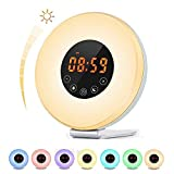 Touch Control Alarm Clock,Sunrise Alarm Clock Wake Up Light Atmosphere Lamp with Sunrise and Sunset Simulation, 10 Brightness,Optional RGB Night Light, 7 Colors& FM Radio &Snooze F