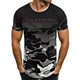 Sothread Fashion Personality Men's Casual Slim Short-Sleeved Shirt Camouflage Top Blouse (M, Gray)