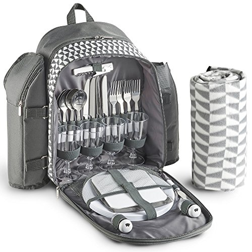 VonShef 4 Person Geo Grey Picnic Backpack With Blanket – ...