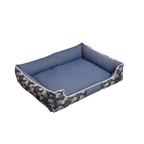 Camas Perro Puede Lavarse Y Lavar Cuatro Temporadas De Jacquard Azul Jeans Antideslizante Gran Perro Camas