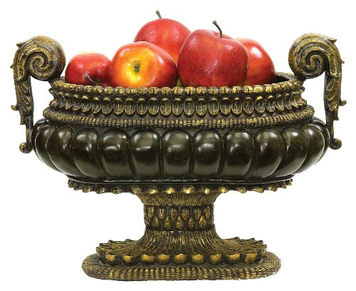 Sterling Footed Bowl - Sterling 91-1260 Composite Mediterranean Decorative Centerpiece Display Bowl, 10 by 12-Inch