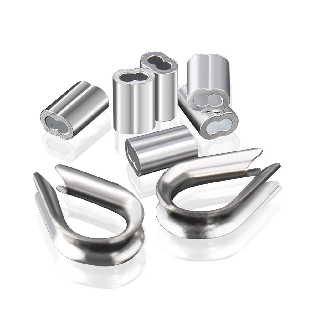 Manchons en Aluminium Clips 200 pi/èces pour C/âbles M/étalliques Diam/ètres 2mm Cosse Rigging Aluminium Double Viroles Pinces /à sertir 20 pcs M2 304 Cosse en Acier Inoxydable Ton Argent