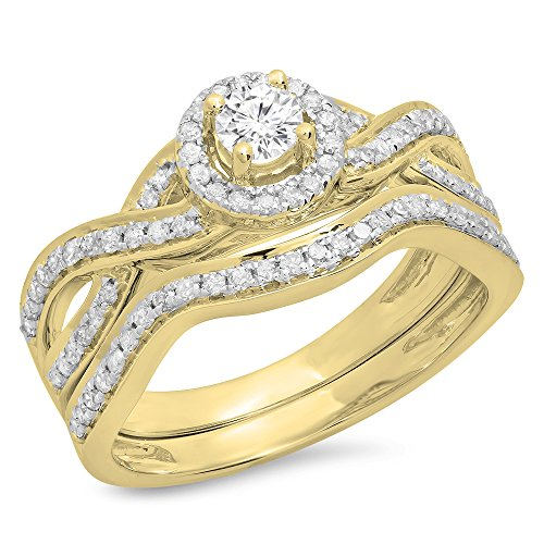 0.60 Carat (ctw) 14K Yellow Gold Round Diamond Bridal Swirl Halo Style Engagement Ring Set (Size 10) by DazzlingRock Collection