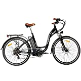 """Moma - Bicicleta Eléctrica Paseo SHIMANO, ruedas de 28"""", Aluminio, Batería Ion-Litio 36V 16Ah"""