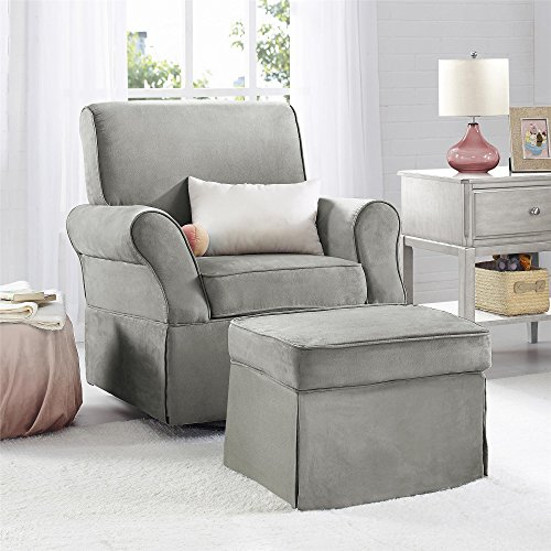 Baby Relax The Kelcie Nursery Swivel Glider Chair and Ottoman Set, Grey