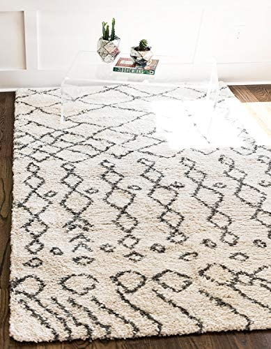 Unique Loom Rabat Shag Collection Lattice Trellis Geometric Moroccan Plush Pure Ivory Area Rug 9 0 x 12 0